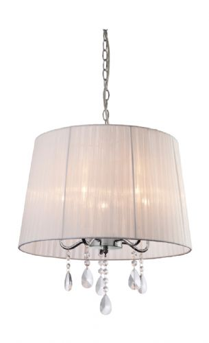 Firstlight 8309WH Chrome with White Shade and Crystal Organza 5 Pendant